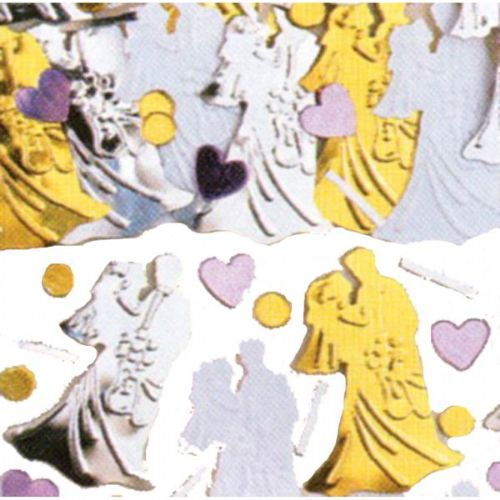 Bride and Groom Gold/Silver Embossed Metallic Mix Confetti Mix - 14g Pack